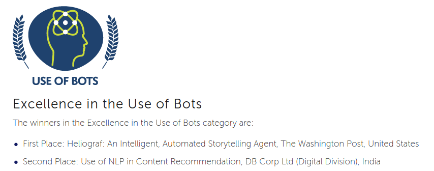 excellence in the use of bots winners image